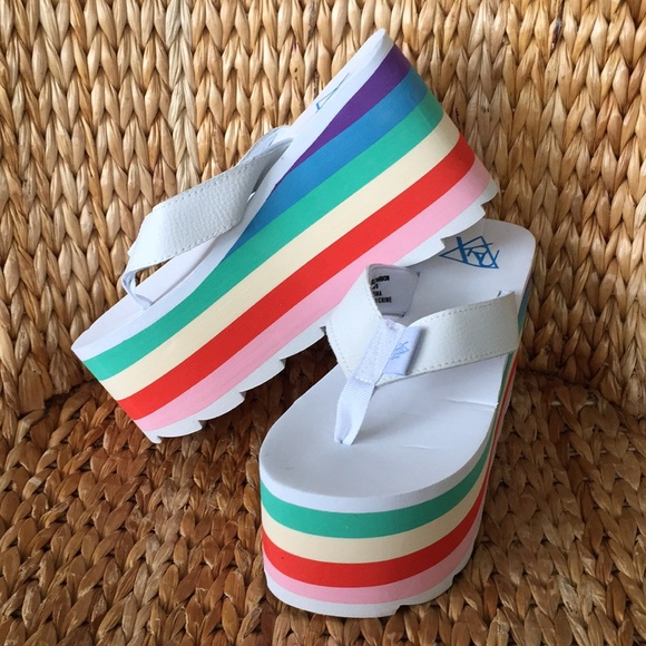 10dae244a0d 💕HP💕NIB YRU White Rainbow Platform Thong Sandals